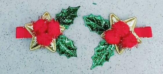 X射線【X020006】聖誕紅夾子,聖誕節/髮夾/帽夾/飾品/聖誕樹/派對/化妝舞會/表演道具/話劇/髮圈