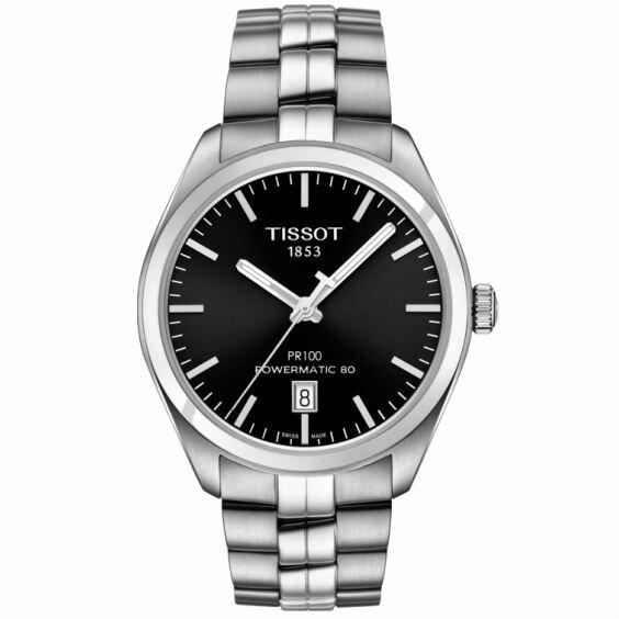TISSOT天梭T1014071105100PR100Powermatic80經典機械腕錶-黑39mm
