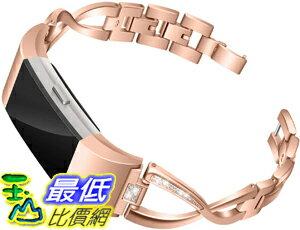 [9美國直購] Mtozon Bands 錶帶 Compatible with Fitbit Charge 2, Metal Bands with Rhinestone Bling Replacement Bractlet Women Silver Rose Gold Black