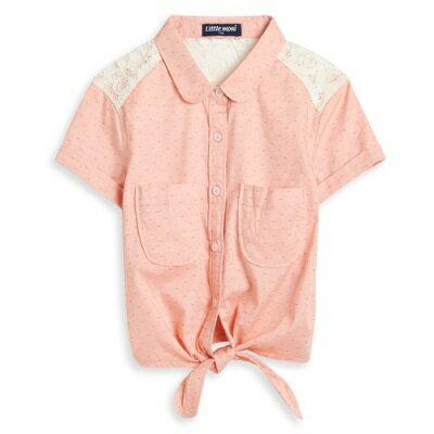 Littlemoni甜美蕾絲拼接綁帶襯衫