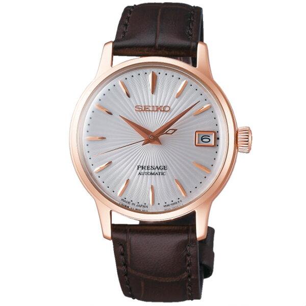 Seiko精工錶Presage4R35-02T0P(SRP852J1)調酒師弧面玻璃機械腕錶白面34mm