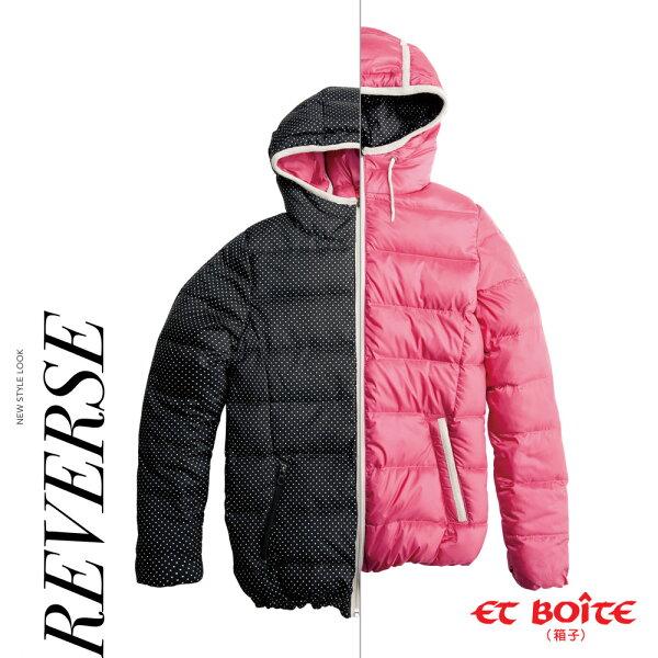 【秋冬精選】雙面穿點點輕薄高級羽絨衣(桃紅)-BLUEWAYETBOiTE箱子