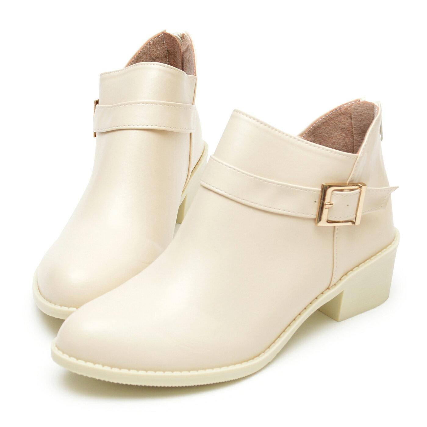 踝靴 側方釦皮革拉鍊低跟靴-米