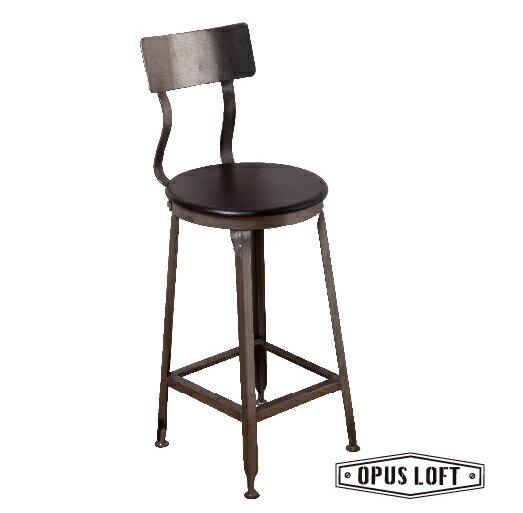 復古LOFT工業風 原木 靠背 吧檯椅
