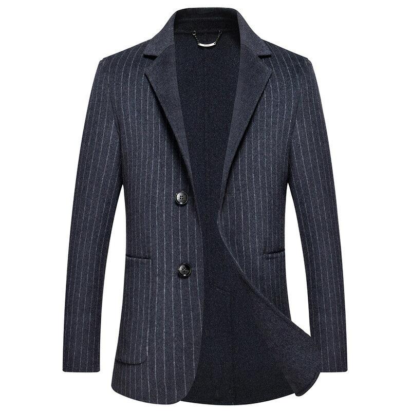 毛呢大衣西裝外套-條紋商務修身舒適男外套73wk29【獨家進口】【米蘭精品】 0
