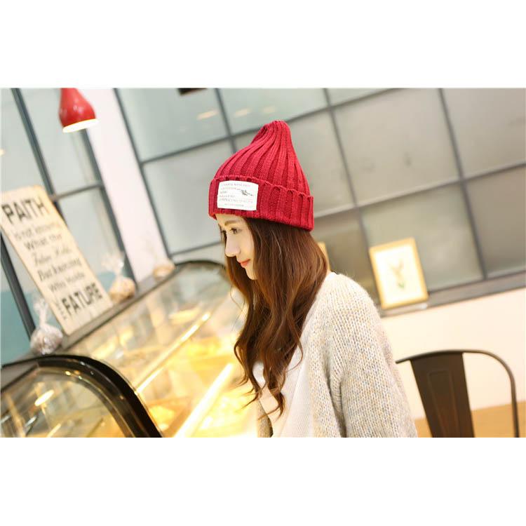 毛帽 素色反褶貼布尖尖帽針織毛帽【QI1301】 BOBI  10/13 2