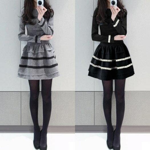 《現貨出清5折》  修身顯瘦 條紋長袖傘擺洋裝(2色,S~2XL) - 梅西蒂絲(現貨+預購) 1