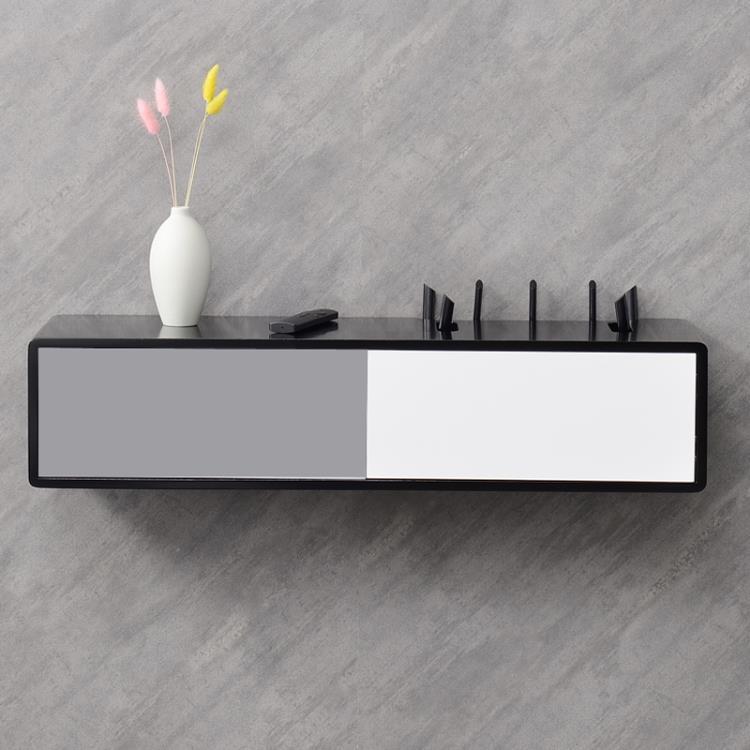 wifi路由器收納盒掛牆免打孔電視線插座遮擋光貓機頂盒置物架實木