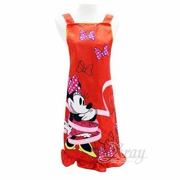 X射線【C526900】米妮Minnie圍裙-緞帶,廚房圍裙圍裙廚師圍裙兒童圍裙防護服半身圍裙工作圍裙