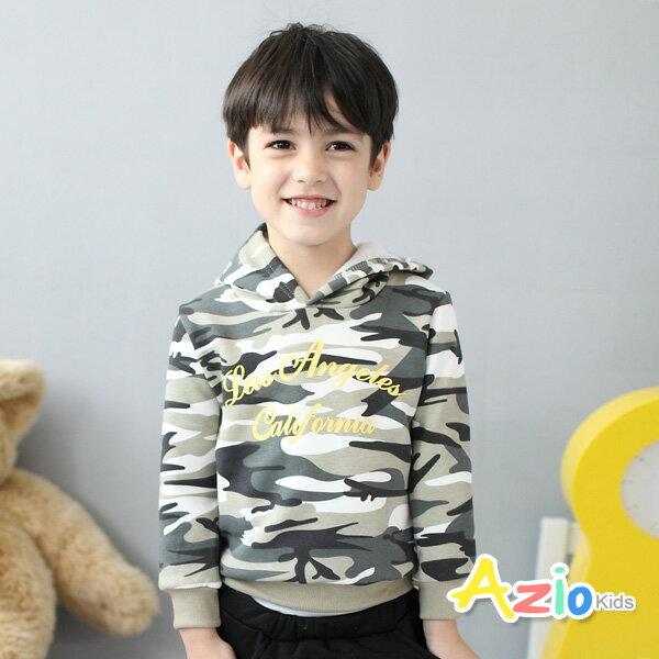 Azio Kids美國派:《美國派童裝》上衣磨毛迷彩字母連帽上衣(淺綠)