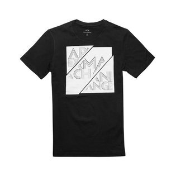 美國百分百【ArmaniExchange】T恤AX短袖logoT-shirt黑色XSSM號I370
