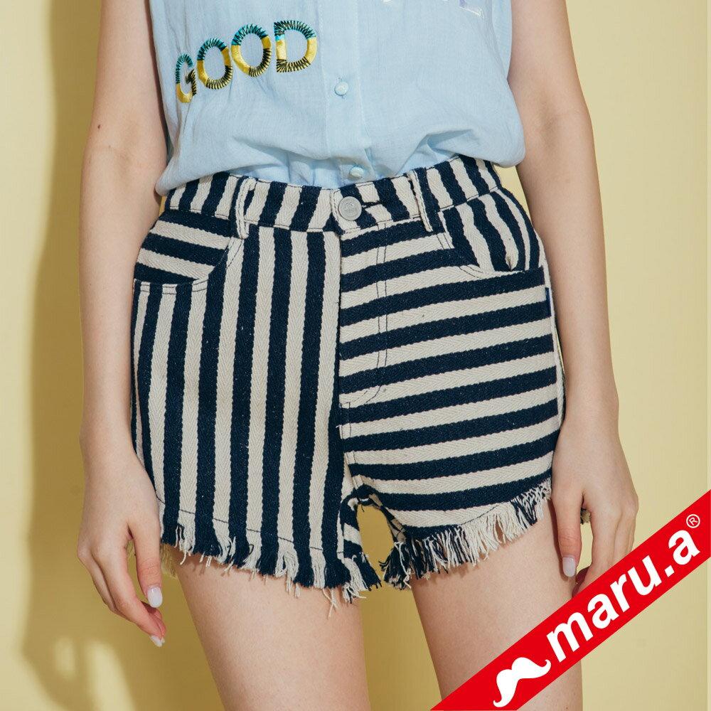 【maru.a】條紋拼接褲管抽鬚短褲 (兩色)8325111 2