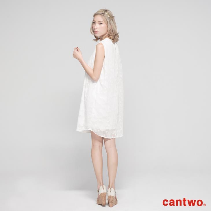 cantwo氣質剪花雪紡洋裝(共二色) 3