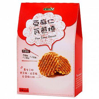 統一生機^~亞麻仁手造瓦煎燒餅195公克 盒^(奶蛋素^) ^~即日起特惠至5月31日數量