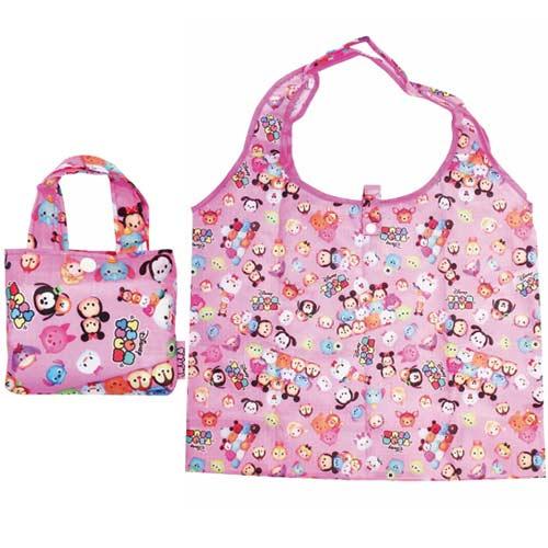 【日本進口正版】TSUM TSUM 摺疊 購物袋 環保袋 手提袋 防潑水 迪士尼 Disney - 059388