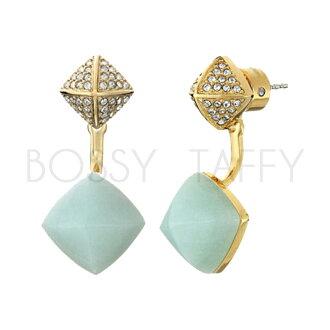 MICHAEL KORS 粉綠天河石金字塔形鑲嵌耳環 MK Amazonite Pyramid Stud Earrings