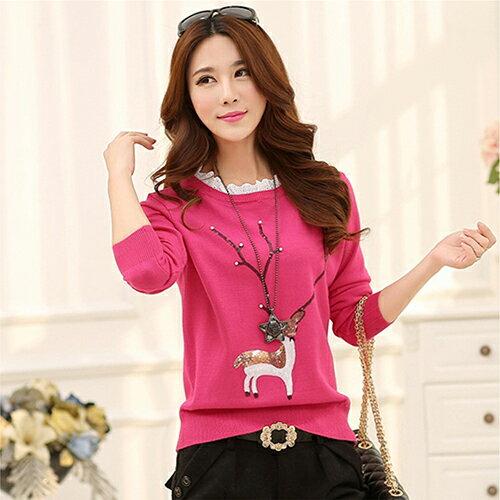 韓版寬鬆修身長袖針織衫衫毛衣 (5色,均碼)【此為預購商品需等年後才出貨】 【OREAD】 0