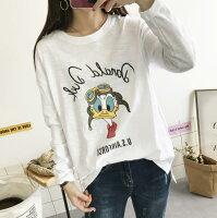 【極簡時尚】韓國進口印花竹節棉寬鬆純棉圓領長袖T恤-極簡時尚-流行女裝推薦