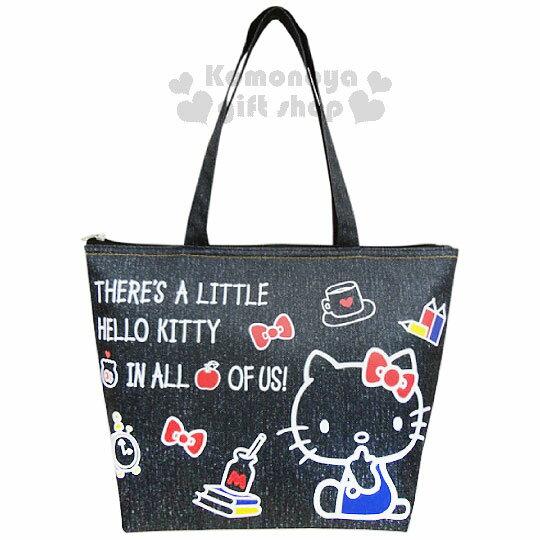 〔小禮堂〕Hello Kitty 牛仔布保冷提袋《M.黑.坐姿.蝴蝶結.時鐘》內裡鋁箔保冷材質