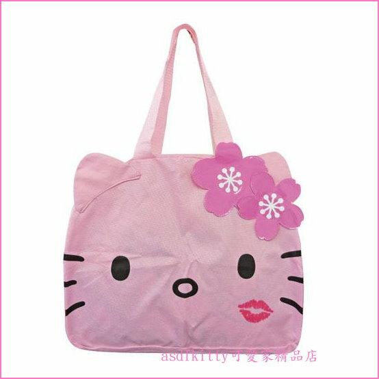 asdfkitty可愛家☆KITTY粉行李箱拉桿手提袋-可收納購物袋/波士頓包-日本正版商品