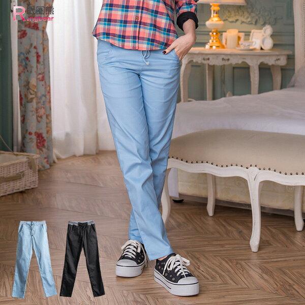 長褲--細長的筆直感條紋鬆緊抽繩褲頭後口袋拉鍊造型長褲(黑.藍M-XL)-P82眼圈熊中大尺碼