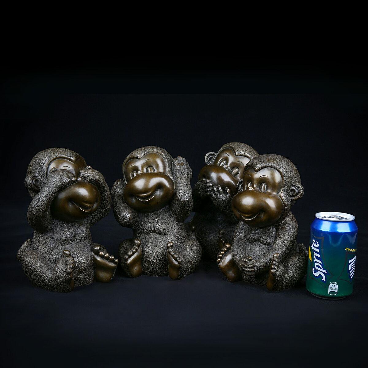 匠澤銅魂 純銅猴子擺件十二生肖猴子辦公室客廳電視柜家居裝飾品