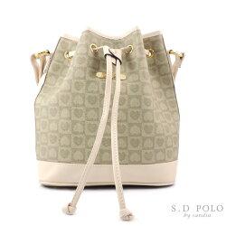 【sandia POLO】優雅心型緹花系-暢銷抽繩水桶包/斜背包-小【L760-PC34】-米色-Z0010
