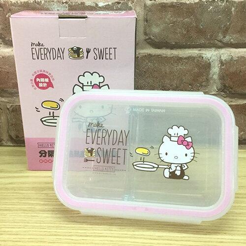 【真愛日本】17051100024 分隔耐熱玻璃保鮮盒-KT廚師粉 三麗鷗 kitty 凱蒂貓 保鮮盒 食物儲藏