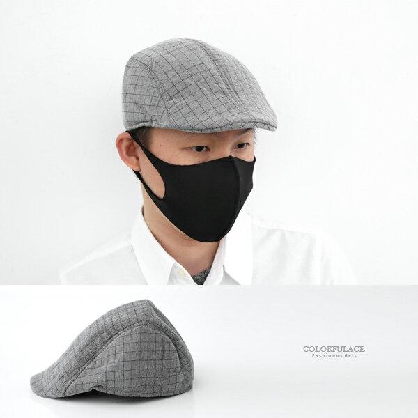 鴨舌帽經典灰色大格紋扁帽小偷帽貝蕾帽柒彩年代【NH289】透氣舒適