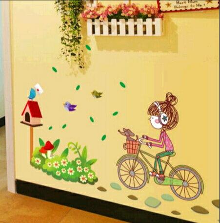 女孩卡通貼畫兒童房間裝飾臥室公主房幼兒園教室布置貼紙 ~no~40496111756~