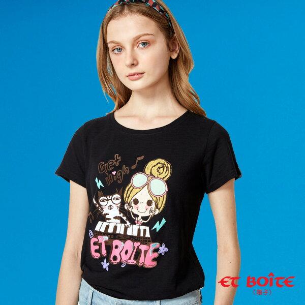【夏日音樂派對】EtAmour電音Keyboard喵娃短袖T恤(黑)-BLUEWAYETBOiTE箱子
