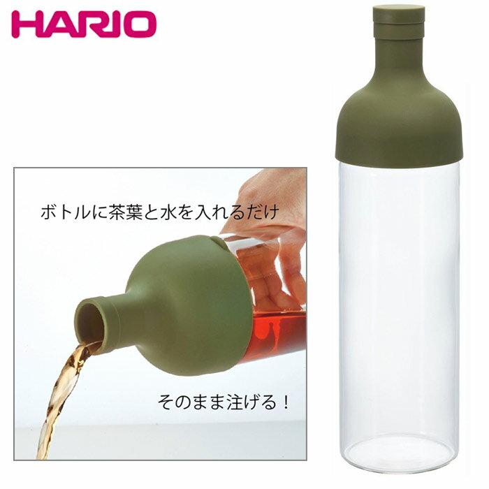【HARIO】酒瓶造型冷泡茶玻璃水壺750ml-橄欖綠 / FIB-75-OG