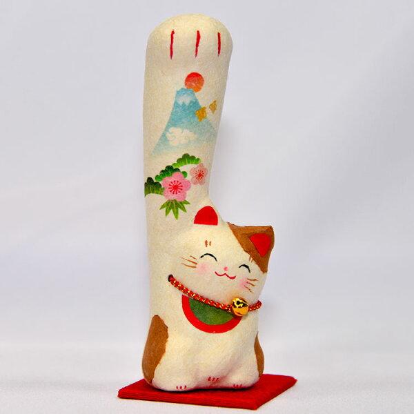 日本製花見富士山招財招福貓吉祥物