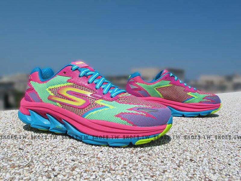 《5折出清》Shoestw【14005HPTQ】SKECHERS 慢跑鞋 GoRun Ultra R 越野慢跑 桃綠藍 慢跑神器