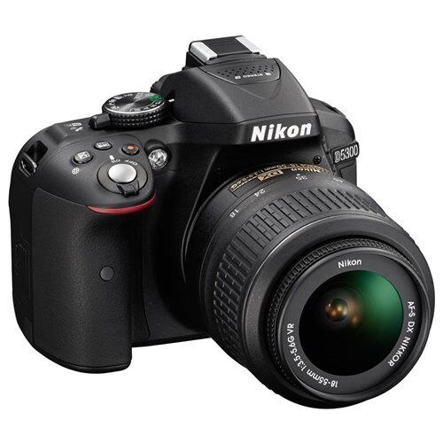 "Nikon D5300 24.2 Megapixel Digital SLR Camera with Lens - 18 mm - 55 mm - Black - 3.2"" LCD - 16:9 - 3.1x Optical Zoom - Optical (IS) - 6000 x 4000 Image - 1920 x 1080 Video - HDMI - PictBridge - HD Movie Mode - Wireless LAN - GPS 2"