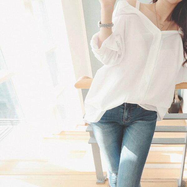 露肩韓版甜美一字領露肩寬鬆吊帶白襯衫【U3502】☆雙兒網☆