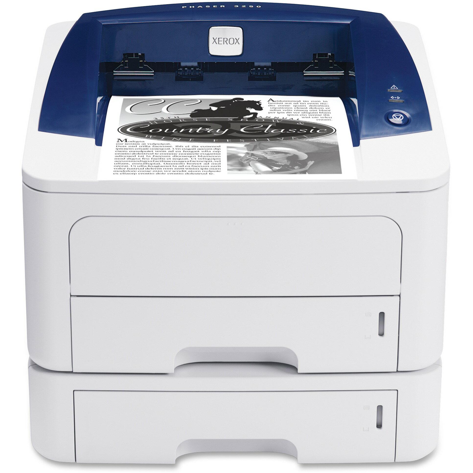 Xerox Phaser 3250DN Laser Printer - Monochrome - 30 ppm Mono - 1200 dpi - USB, Network - Fast Ethernet - PC, Mac 1