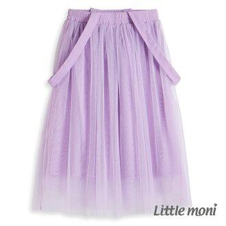Little moni 法式浪漫吊帶式網紗蓬裙 - 薰衣草紫