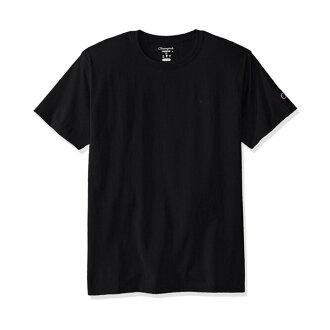 美國百分百【Champion】冠軍 T恤 短袖 T-shirt logo 素T 高磅數 黑色 S-XL號 I203