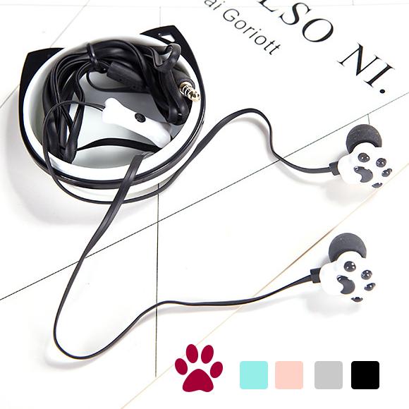 <br/><br/>  《波卡小姐》韓國貓爪爪耳機&收納盒 立體音效耳塞式耳機 可愛肉球內耳防燥運動耳機 zakka雜貨創意小禮物<br/><br/>