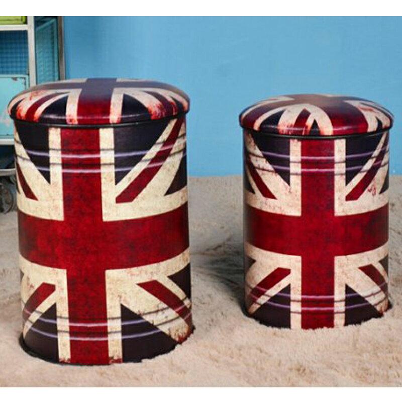 【新生活家具】《9 ball》英國國旗 小收納椅 收納凳 復古 工業風 loft 汽油桶 鐵桶 仿古 美式復古風