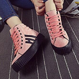 帆布鞋 休閒鞋-鬆糕底甜美時尚學生高筒平底女鞋子2色72ac34【獨家進口】【米蘭精品】