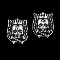 ★鈦鋼耳環耳飾-古雅馬骷顱頭個性皇冠七夕情人節生日禮物男飾品73cn42【獨家進口】【米蘭精品】