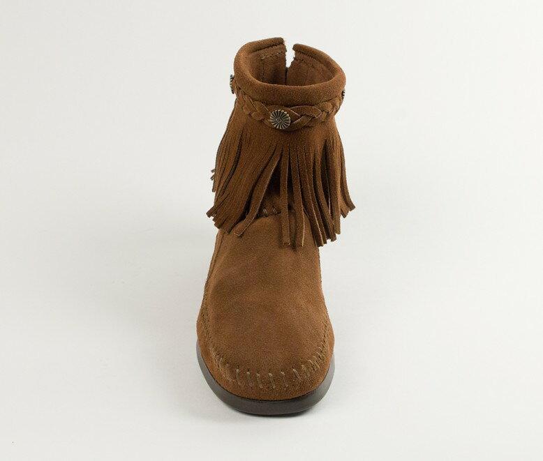 【Minnetonka 莫卡辛】深棕色 - 麂皮後拉鍊流蘇莫卡辛短靴 4