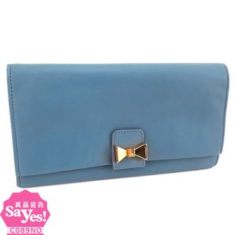 【奢華時尚】Chloe 天空藍色牛皮金色立體蝴蝶結對折長夾(八成新) #21094