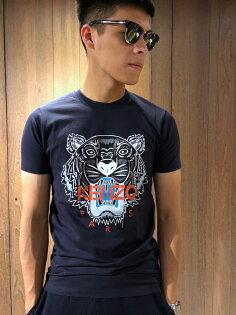 美國百分百【全新真品】KENZO高田賢三T恤圓領T-shirt短袖logo虎頭印圖深藍XSJ070