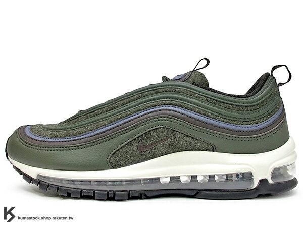 KUMASTOCK:[15%OFF]2017NSW經典復刻慢跑鞋NIKEAIRMAX97PREMIUMWOOL深綠羊毛全氣墊子彈慢跑鞋'971997(312834-300)!