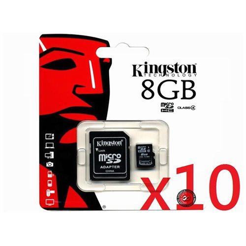 WholeSale 10 piece Kingston 8GB microSDHC Class 4 8G microSD micro SD SDHC C4 TF Flash Memory Card SDC4/8GB