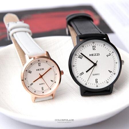 手錶 簡約清晰雙倍數字刻度質感皮革手錶 素雅無印風格 大小款情侶錶 柒彩年代【NE1927】單支價格 - 限時優惠好康折扣