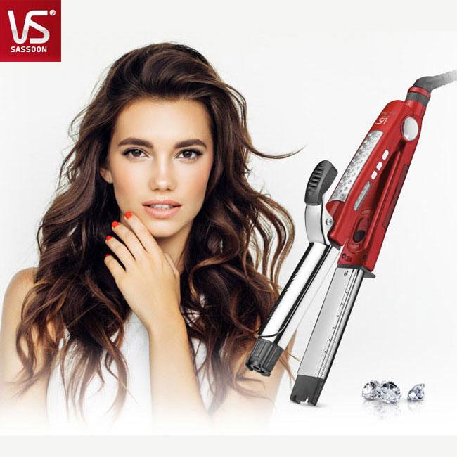 再送精美小禮【沙宣 VS】32毫米晶漾魔力紅鈦金蒸氣二合一直捲髮棒 VSS-8000W